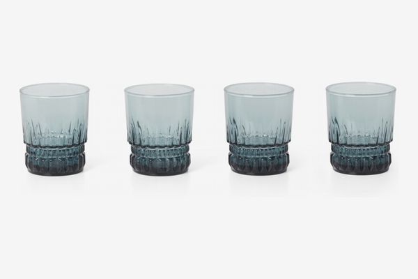 MADE Monash Set of 4 Textured Tumblers, Dark Smoke