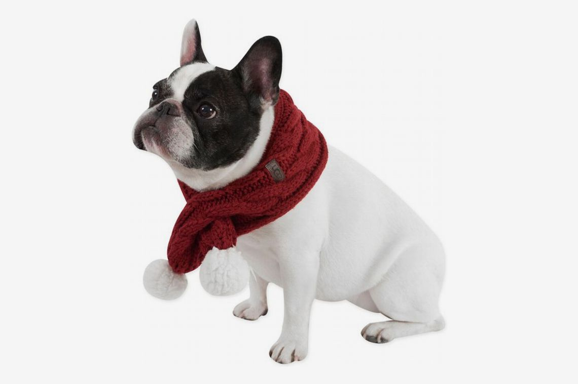 Ugg Pet Cable Knit Scarf with Pom-Poms