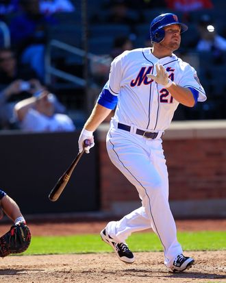 Lucas Duda #21 of the New York Mets homers on a line drive to right field in the 7th inning against the Atlanta Braves at Citi Field on April 7, 2012.