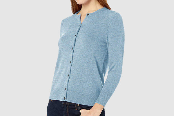 Lark & Ro Three Quarter Sleeve Crewneck Cashmere Cardigan