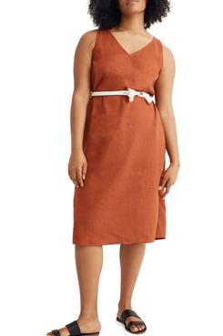 Madewell Linen Blend V Neck Midi Tank Dress