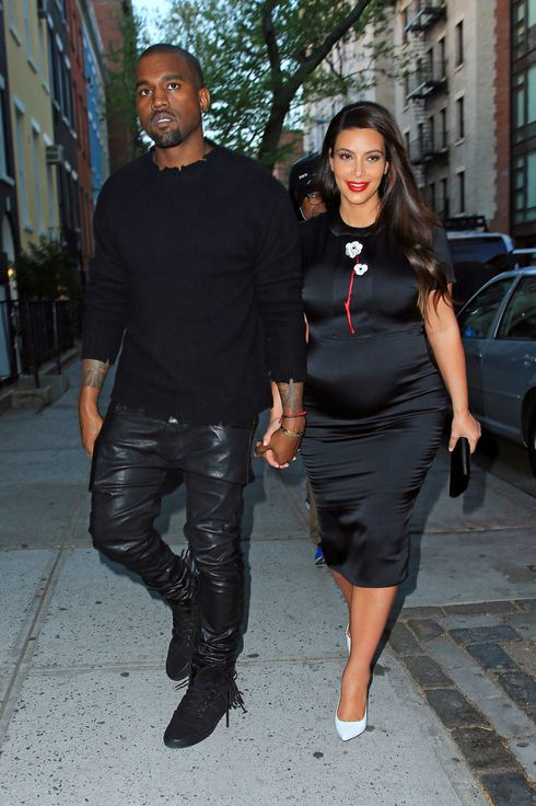 Kim Kardashian is glowing while out and about with Kanye West for dinner in NYC.