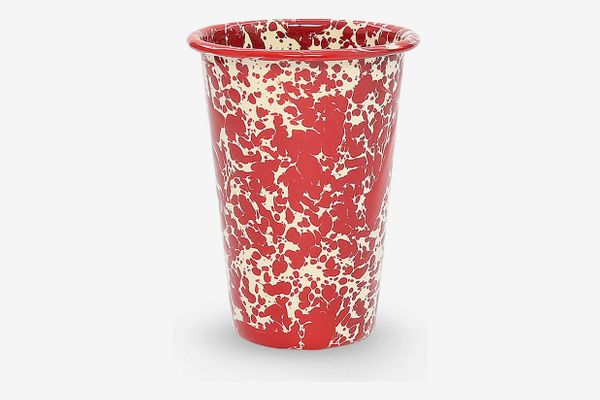 Crow Canyon Home Enamelware Tumbler, Burgundy/Cream Splatter (Set of 4)