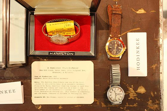Hodinkee vintage watches: seventies Rolex in gold and steel with root beer dial, $5,000; sixties Hamilton Thin-O-Matic watch, $600; sixties mechanical Timex, $150.