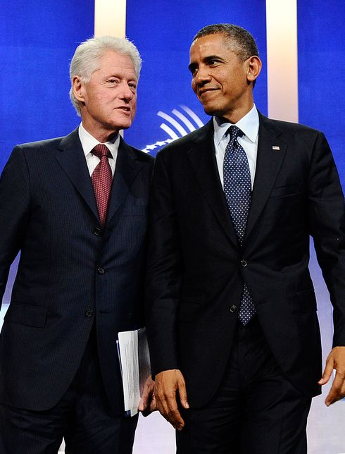 US President Barack Obama and former president Bill Clinton leave after participating in a conversation about the future of health care reform in America, and the benefits of expanding access to quality health care around the globe at Clinton Global Initiative in New York on September 24, 2013.
