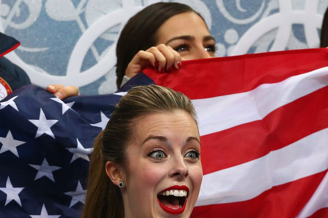 SOCHI, RUSSIA - FEBRUARY 08:  Ashley Wagner of the United States reacts after competing in the Figure Skating Team Ladies Short Program during day one of the Sochi 2014 Winter Olympics at Iceberg Skating Palace on February 8, 2014 in Sochi, Russia.  (Photo by Robert Cianflone/Getty Images)