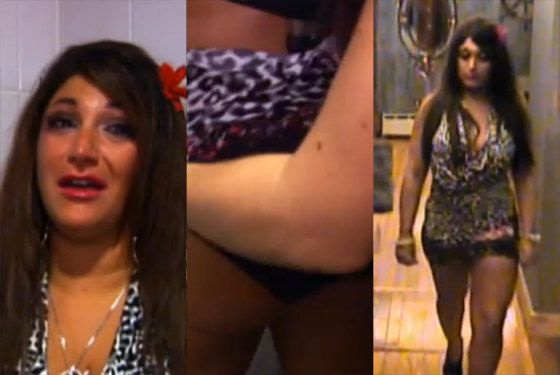 Left to right: Deena crying in one of the nightclub bathrooms upon learning of Vinny's departure; JWOWW pulling down Deena's dress in the bathroom during said crying period<i> </i>(I know, it's like, why bother?); and Deena arriving home, still crying and losing her skirt over Vinny being gone. This girl is the biggest mess. Snooki is a mess, but this girl is the<i> biggest</i> mess. Like, she's an inadvertent walking sex tape kind of mess. This recap is focused on style in the loosest sense of the word, and so style must be interpreted in these slides to encompass some aspects of behavior, and Deena is like a voluntarily blind and deaf woman on the stage of her own humiliation. I invite women everywhere to make a pact with themselves not to be as sloppy as Deena. Like, to take <i>active measures</i> not to be as sloppy as Deena.