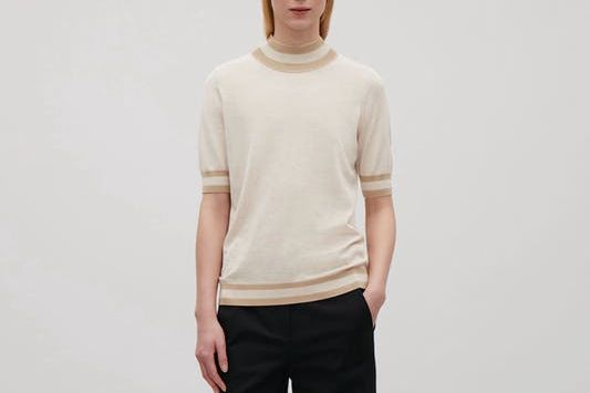 COS Rib-Detailed Knitted Top in Biscuit