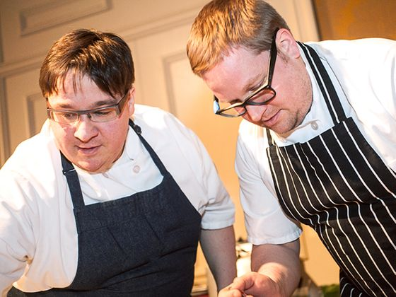 The brothers Sheerin serving hake brandade with pickled dill, egg yolk and wasabi, from The Trenchermen.