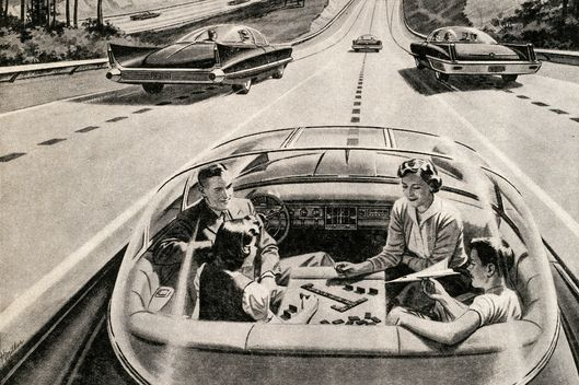 Vintage illustration of a family of four playing a board game, while their futuristic electric car automatically drives itself, 1957.