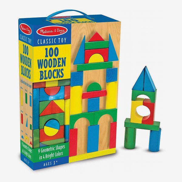 Melissa & Doug Wooden Building-Blocks Set