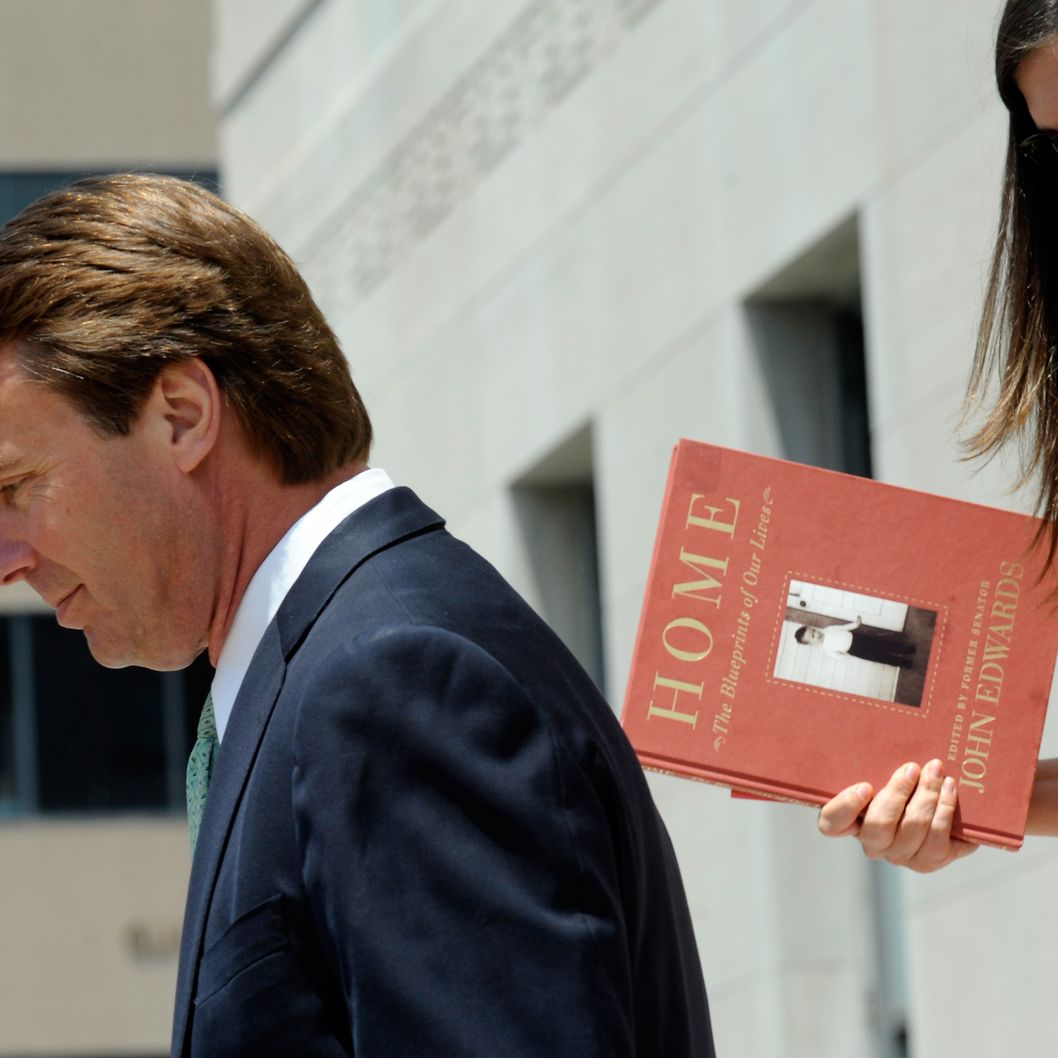 Former U.S. Sen. John Edwards and his daughter Cate Edwards leave for lunch on the ninth day of jury deliberations at federal court May 31, 2012 in Greensboro, North Carolina. Edwards, a former presidential candidate, plead not guilty to six counts of campaign finance violations and could face a maximum of 30 years in jail and $1.5 million in fines.
