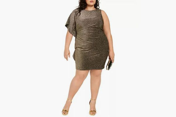 Vince Camuto Plus Size One-Sleeve Metallic Bodycon Dress