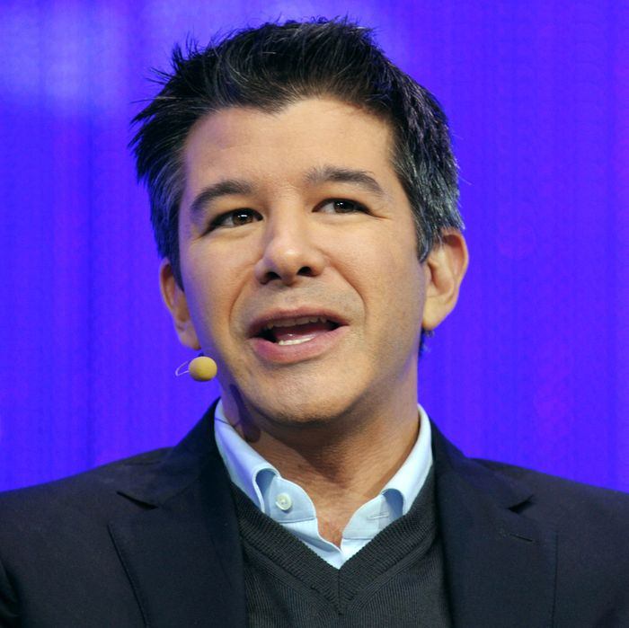 Travis Kalanick, Co-Founder and CEO of Uber, a mobile application connecting passengers with drivers of vehicles for hire, talks during a session of LeWeb 2013 event in Saint-Denis near Paris on December 10, 2013.