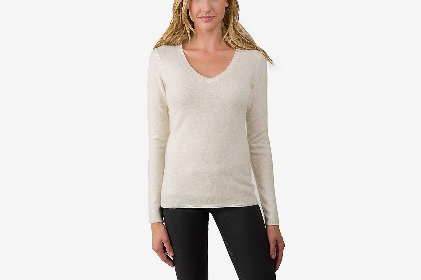 JENNIE LIU Women's 100% Pure Cashmere Long Sleeve Pullover V Neck Sweater