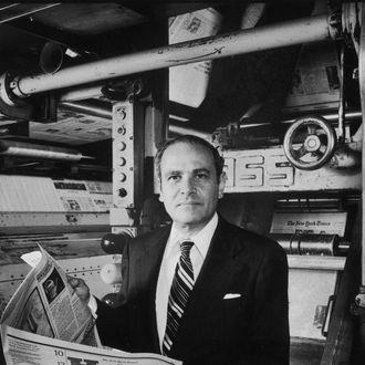 Subject: Arthur Ochs Sulzberger. Publisher of the New York Times.June 30, 1977Photographer- Dirck HalsteadTIme Life ContributerMerlin- 1139618