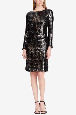 Lauren Ralph Lauren Sequin Houndstooth Dress