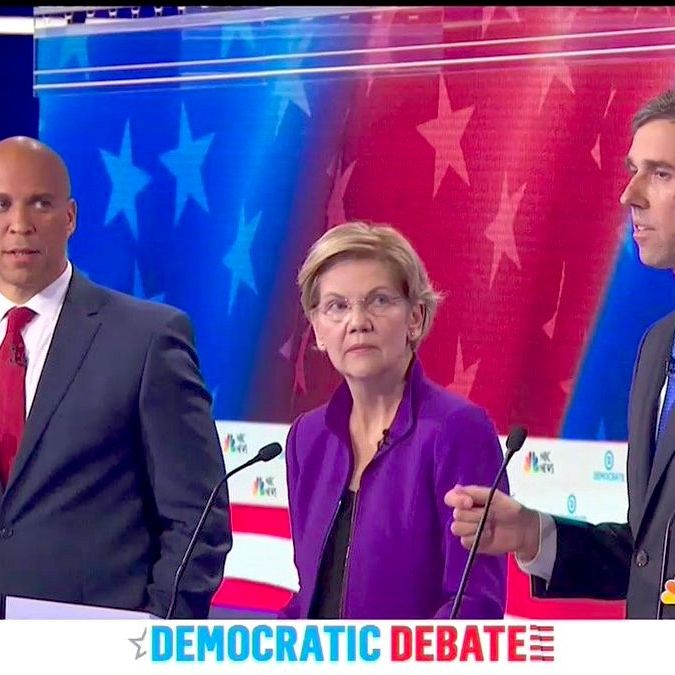 Cory Booker, Elizabeth Warren, and Beto O'Rourke.