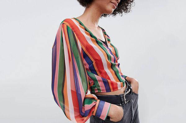 Reclaimed Vintage inspired wrap blouse in stripe