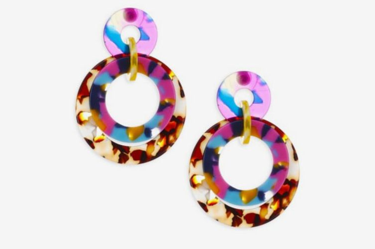 Lele Sadoughi Rio Banded Hoop Drop Earrings