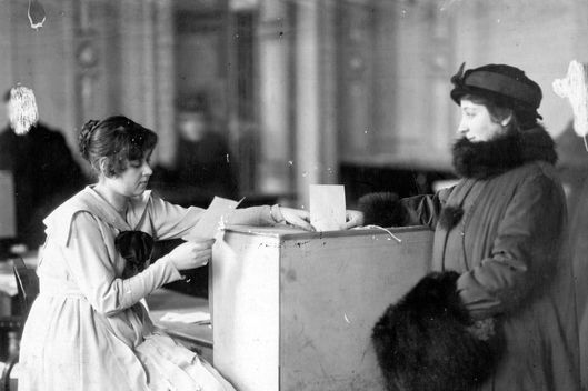 circa 1917:  A woman casts her vote at the Constituent Assembly. Original Publication: Russian Album  (Photo by Hulton Archive/Getty Images)