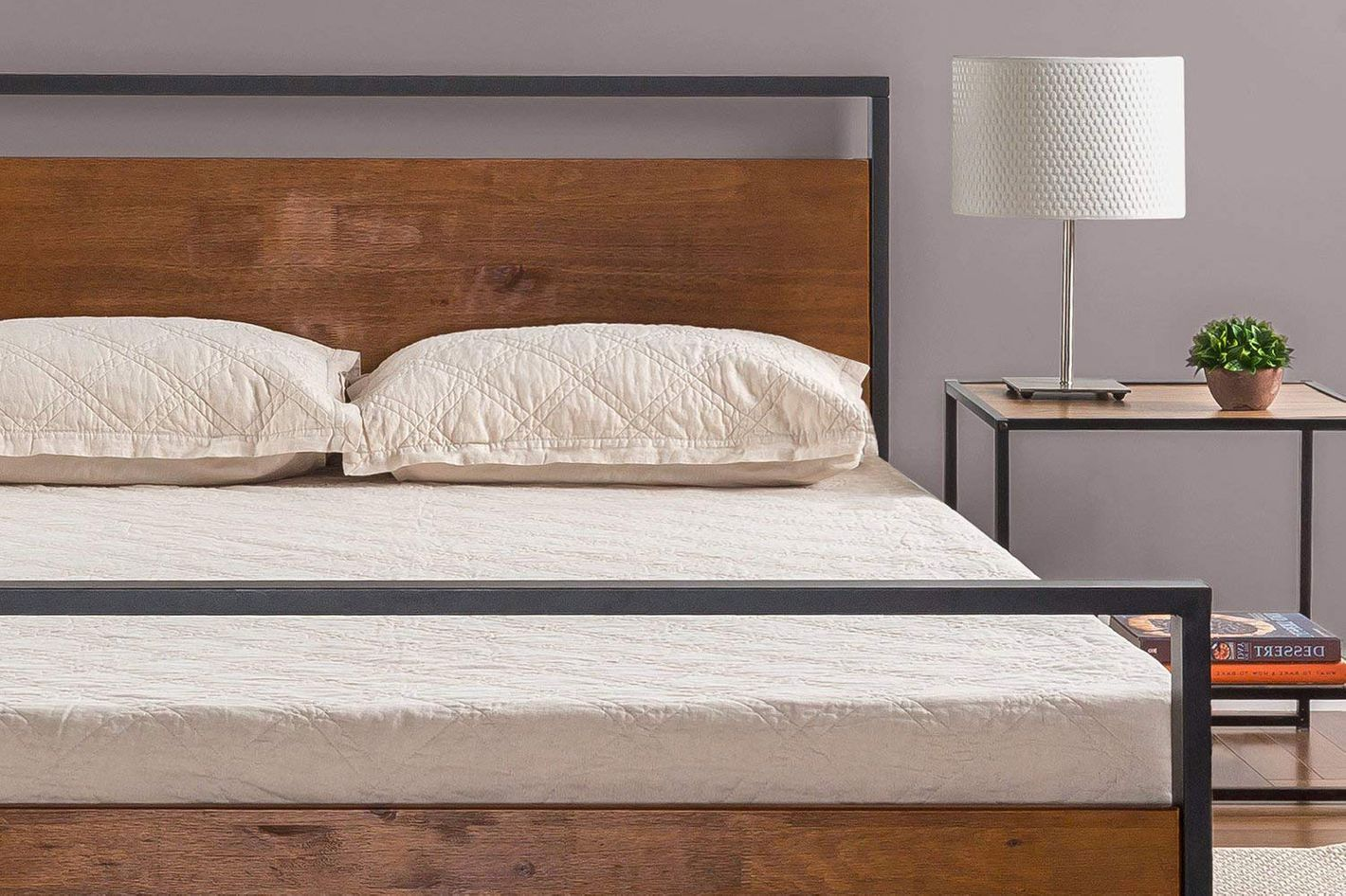 Zinus ironline metal and wood platform bed with headboard and footboard queen