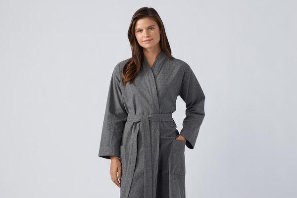 Coyuchi Unisex Cloud Brushed Organic Flannel Robe