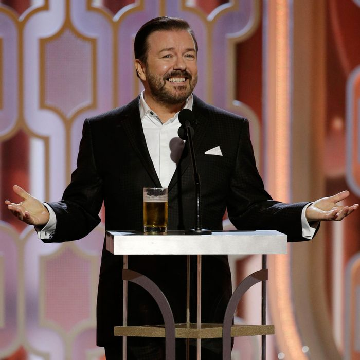 Ricky Gervais makes an expectedly sarcastic opening speech.