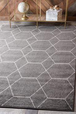 Unique Loom Trellis Frieze Collection Lattice Moroccan Geometric Modern Dark Gray Area Rug 8' x 10'