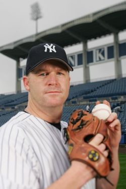 TAMPA, FL - FEBRUARY 25:  Mike Stanton of the New York Yankees poses for a portrait during Yankees Photo Day at Legends Field on February 25, 2005 in Tampa, Florida. (Photo by Ezra Shaw/Getty Images) *** Local Caption *** Mike Stanton