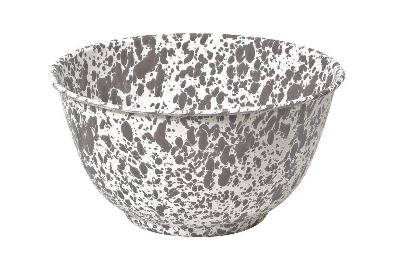 Enamelware Large Salad / Serving Bowl — Gray Marble