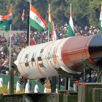 Agni IV missile is displayed at the Republic Day parade in New Delhi on January 26, 2012. India celebrated its 63rd Republic Day under heavy security and a large military parade, with Thailand's Prime Minister Yingluck Shinawatra as the chief guest of the event. AFP PHOTO/RAVEENDRAN (Photo credit should read RAVEENDRAN/AFP/Getty Images)