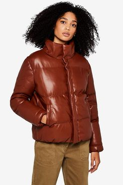 find. Women's Faux Leather Padded Jacket