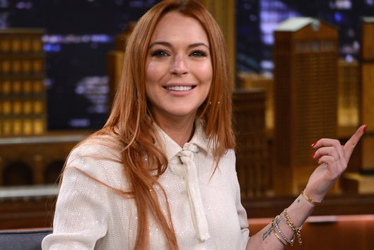 "NEW YORK, NY - MARCH 06:  Lindsay Lohan visits ""The Tonight Show Starring Jimmy Fallon"" at Rockefeller Center on March 6, 2014 in New York City.  (Photo by Theo Wargo/NBC/Getty Images for ""The Tonight Show Starring Jimmy Fallon"")"
