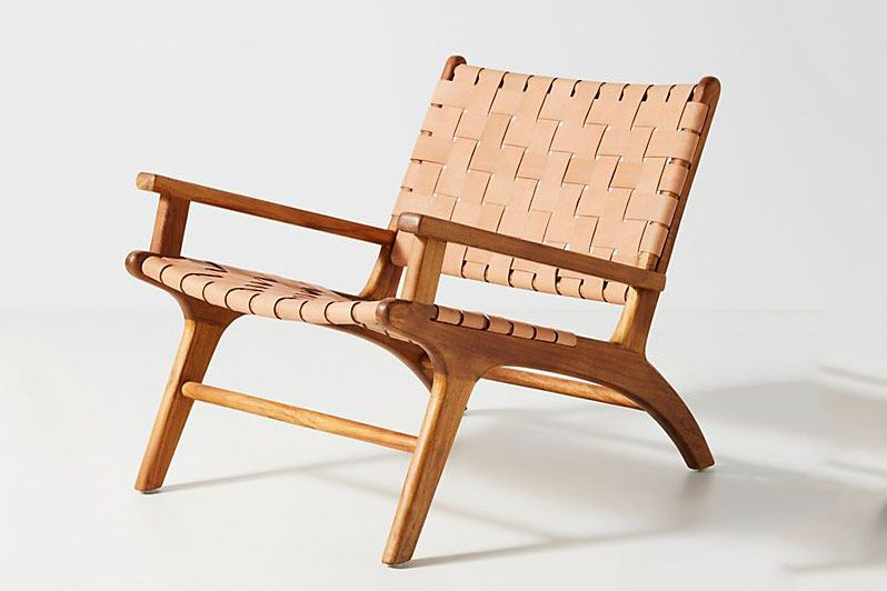 Anthropologie Kamara Leather-Loomed Chair