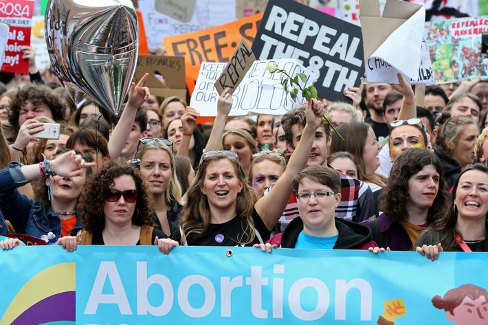 Protesters at Dublin's 2017 March for Choice.