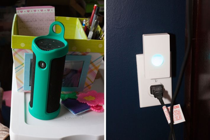 A side-by-side photo of an Amazon Echo Tap and smart-plug motion sensor, which Gentry uses to make his house more accessible.