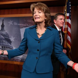 WASHINGTON, DC - JANUARY 25: U.S. Sen. Lisa Murkowski (R-AK) (L) gestures at the end of a news conference as Rep. Heath Shuler (D-NC) (R) leaves January 25, 2011 on Capitol Hill in Washington, DC. The lawmakers held a news conference to talk about their effort to encourage Democrats and Republicans to sit together during the president's state of the Union address. (Photo by Alex Wong/Getty Images) *** Local Caption *** Lisa Murkowski;Heath Shuler