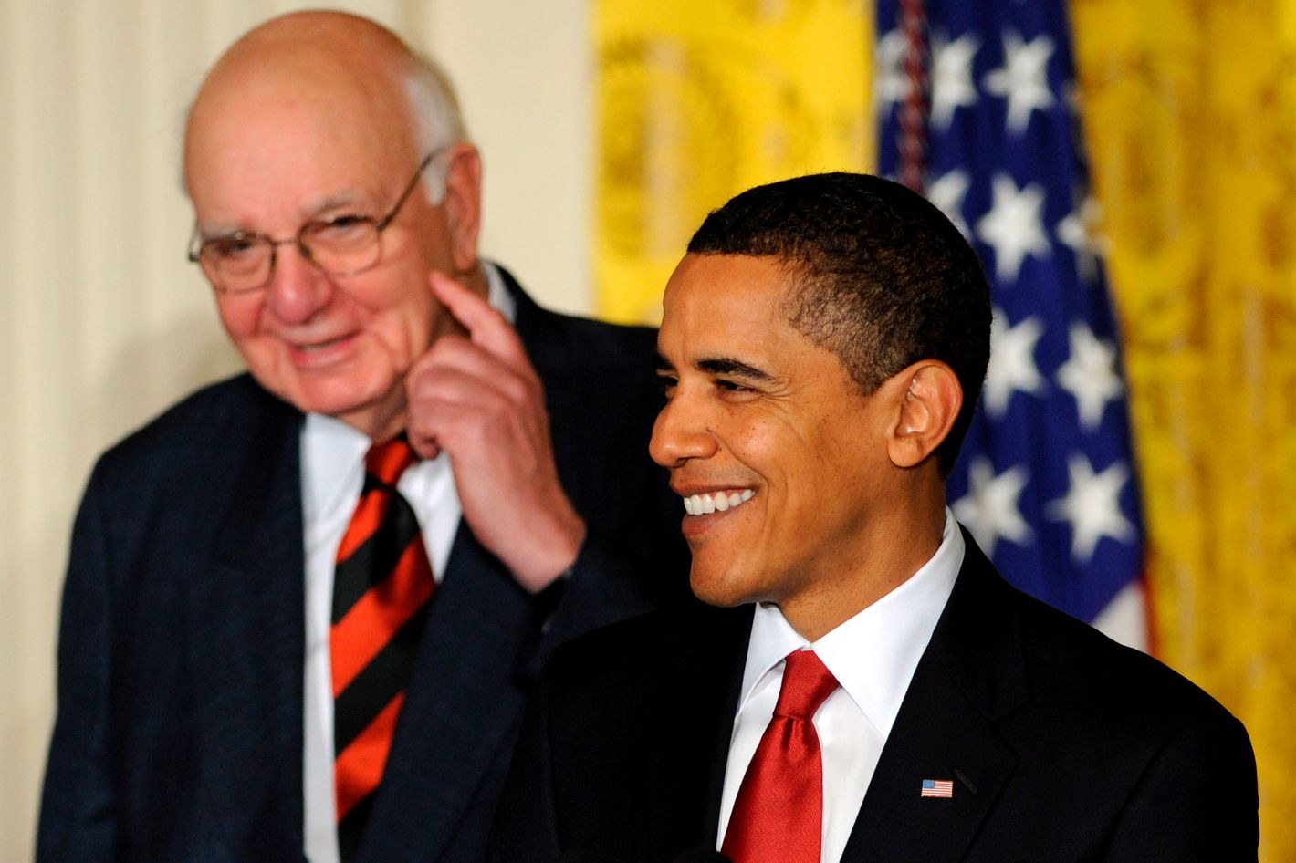 U.S. President Barack Obama (front) and the Chair of his Economic Recovery Advisory Board Paul Volcker, announce the newly appointed members of the advisory board at the White House in Washington, DC, USA on 06 February 2009. The board made up of business leaders, labor groups and former government officials will provide an outside perspective on Obama's economic recovery plans.