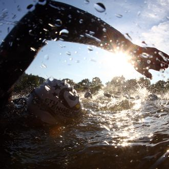 ROTH, GERMANY - JULY 08: Athletes compete during the Challenge Roth Triathlon on July 8, 2012 in Roth, Germany. (Photo by Alexander Hassenstein/Getty Images for Challenge Roth)