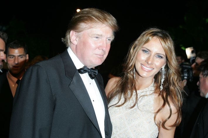 WEST HOLLYWOOD, CA - FEBRUARY 27: Donald Trump and wife Melania Knauss arrives at the Vanity Fair Oscar Party at Mortons on February 27, 2005 in West Hollywood, California. (Photo by Frazer Harrison/Getty Images)