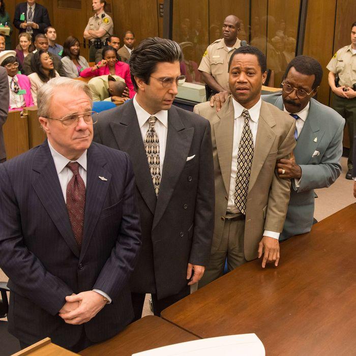 "THE PEOPLE v. O.J. SIMPSON: AMERICAN CRIME STORY ""The ""Verdict"" Episode 110 (Airs Tuesday, April 5, 10:00 pm/ep) -- Pictured: (l-r) Nathan Lane as F. Lee Bailey, David Schwimmer as Robert Kardashian, Cuba Gooding, Jr. as O.J. Simpson, Courtney B. Vance as Johnnie Cochran, John Travolta as Robert Shapiro. CR: Prashant Gupta/FX"