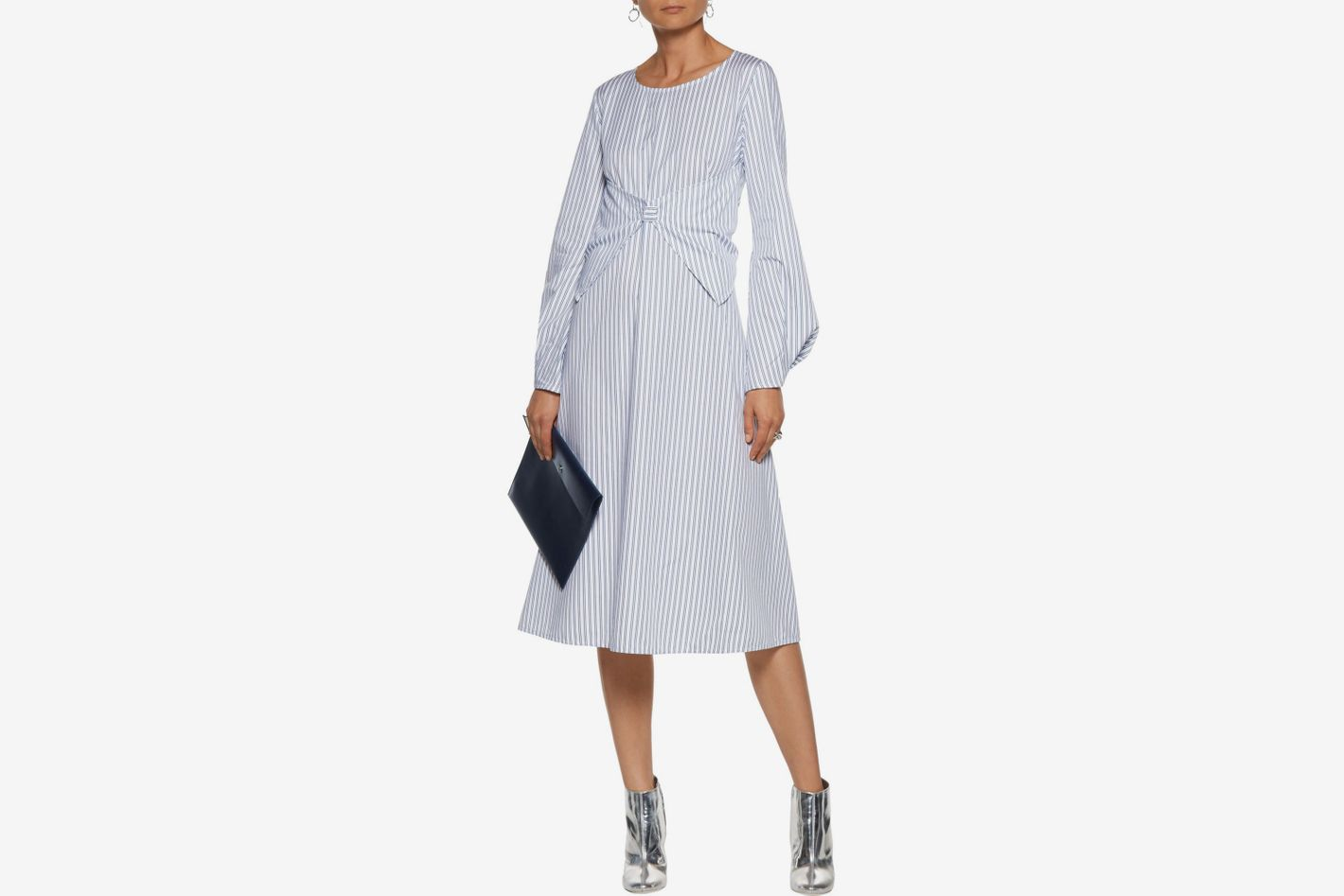 J.W.ANDERSON Layered striped cotton-poplin midi dress