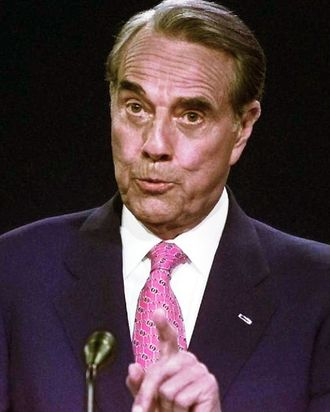 Presidential Candidate Bob Dole answers a question 6 October during the Presidential debate in Hartford, CT.