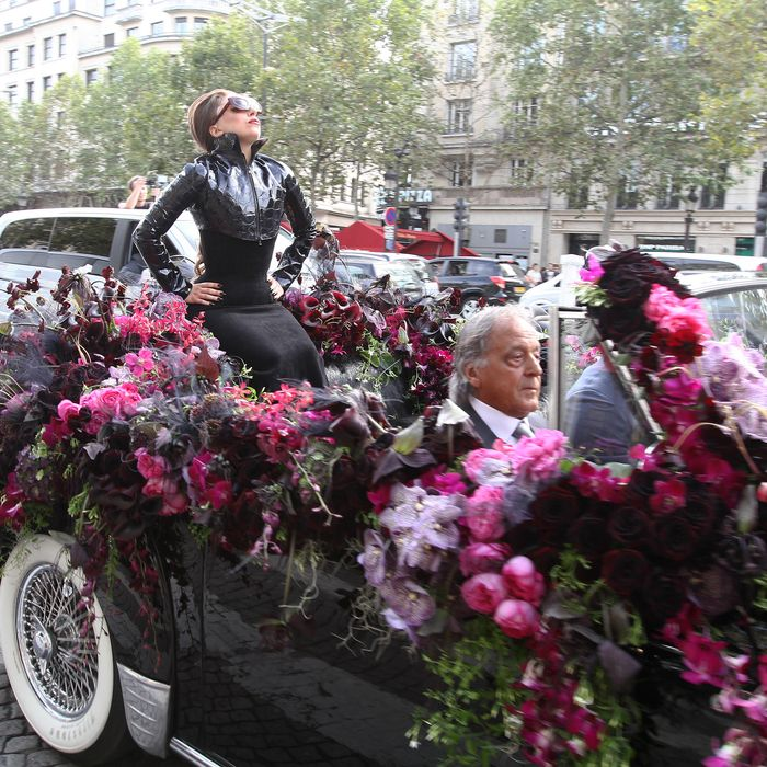 Lady Gaga on the Champs Elysees.