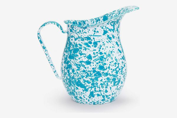 Crow Canyon Home Enamelware Pitcher, Turquoise/White Splatter