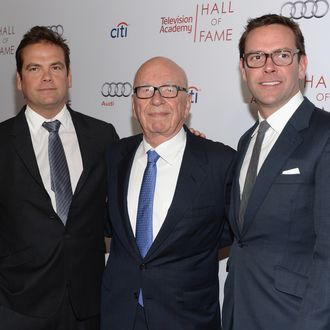 BEVERLY HILLS, CA - MARCH 11: Lachlan Murdoch, Rupert Murdoch and James Murdoch attend The Television Academy's 23rd Hall Of Fame Induction Gala at Regent Beverly Wilshire Hotel on March 11, 2014 in Beverly Hills, California. (Photo by Jason Kempin/Getty Images)