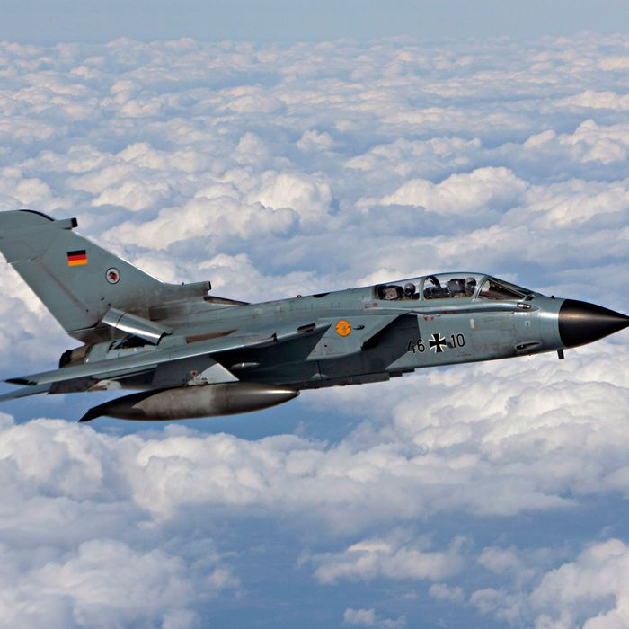 Tornado combat aircraft of the German Air Force on December 2, 2015, in Hamburg, Germany.