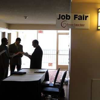 SOUTH SAN FRANCISCO, CA - AUGUST 04: Job seekers go through an orientation before meeting with recruiters at the Catalyst Career Group job fair on August 4, 2011 in South San Francisco, California. The Employment Situation report for July, 2011 by the U.S. Bureau of Labor Statistics is scheduled to be released tomorrow. (Photo by Justin Sullivan/Getty Images)