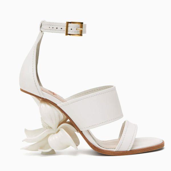 Floral-Heel Leather Sandals
